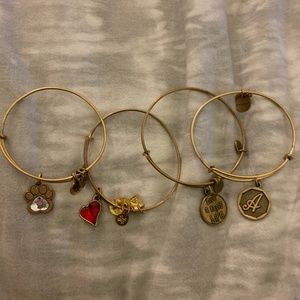 Assorted Gold Alex and Ani Bracelets
